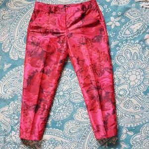 J. Crew pink floral shantung silk trousers
